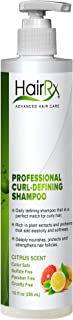 HairRx Professional Curl-Defining Shampoo with Pump, Light Lather, Citrus Scent, 10 Ounce