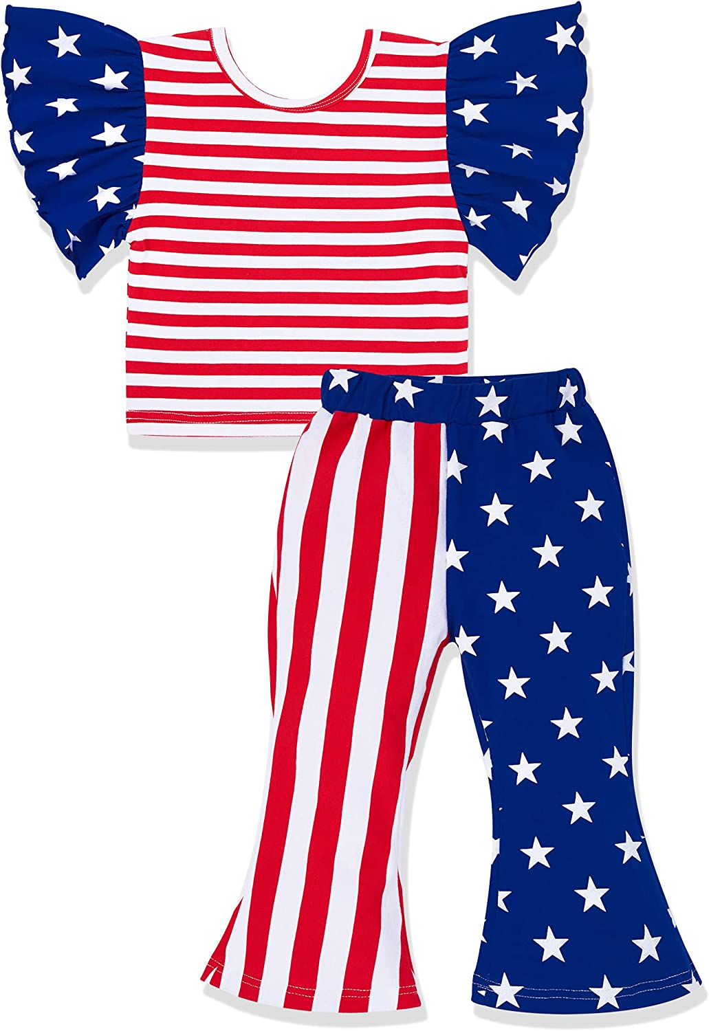 4th of July Toddler Girl Outfits Ruffle Sleeve Short Tops + the Stars and the Stripes Pants 2Pcs