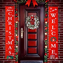 Feeke Christmas Banner Decoration Outdoor Indoor Christmas Decorations weclome Merry Christmas Bright Porch Sign Red Xmas Decor Banner Christmas Door Banner Merry Christmas Outdoor Sign (Red)