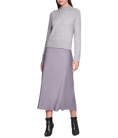 Calvin Klein Mock Neck Sweater (Heather Granite) Women