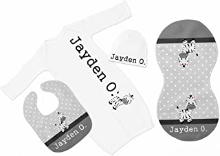New Baby Boy's Heather Grey Raglan Zebra Personalized Infant Gown with Black Coming Home Outfit
