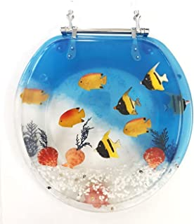 "Daniel`s Bath & Beyond Polyresin Round Fish Aquarium Toilet Seat, 17"", Blue"