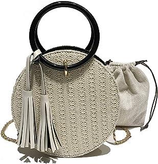 SHEXX Verano Bolsos de Paja Mujer Playa Bolsa de Hombro Mango Crossbody Moda Crochet Satchel,White-OneSize