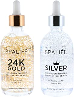 Spa Life 24k Gold and Silver Collagen Infused Nourishing Serum 2 Pack