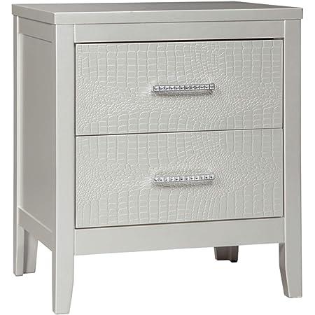 Ashley Furniture Signature Design - Olivet Nightstand - Contemporary Glam - 2 Drawers - Silvertone Metallic Finish - Chrome Pulls w/ Decorative Faux Crystals