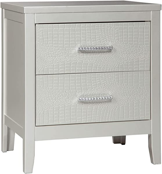 Ashley Furniture Signature Design Olivet Nightstand Contemporary Glam 2 Drawers Silvertone Metallic Finish Chrome Pulls W Decorative Faux Crystals