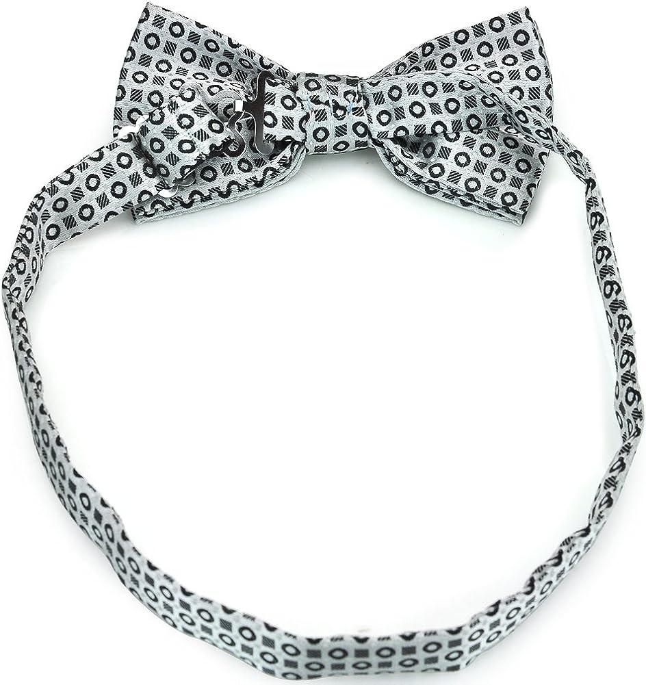 PenSee Mens Formal Stripes Jacquard Pre-tied Bow Tie & Pocket Square & Cummerbund Set for Tuxedo