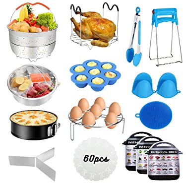 Instant Pot Accessories Set, 73 PCS Instant Pot Accessories Compatible with 5,6,8Qt - 60 Pcs Parchment Papers, 2 Steamer Baskets, Non-stick Springform Pan, Egg Rack, Egg Bites Mold, Kitchen Tong, Dish