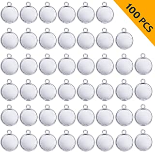ABBECIAO 100PCS Silver Bezel Pendant Trays Round Cabochon Settings Alloy Pendant Blanks for Necklace Earring DIY Jewelry Making Photo, 12mm/(1/2 Inch)