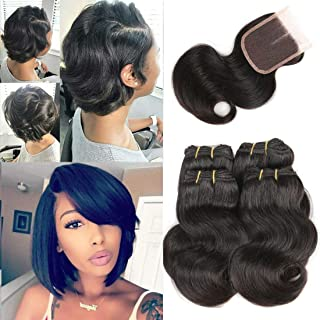 Luxnovolex Bundles with Closure Body Wave Bob Wig Unprocessed Human Hair Weave with Short Brazilian Hair Extensions 230g in total(8 8 8 8 with 8)