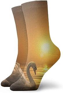 Luxury Calcetines de Deporte Sunset Lake Swan Women & Men Socks Soccer Sock Sport Tube Stockings Length 11.8Inch