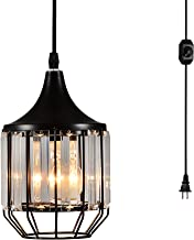 Creatgeek Plug-in Crystal Pendant Light with 16.4'(Ft) Cord and In-Line On/Off Dimmer Switch for Kitchen Island, Dining Room, Black Antique Metal Finish