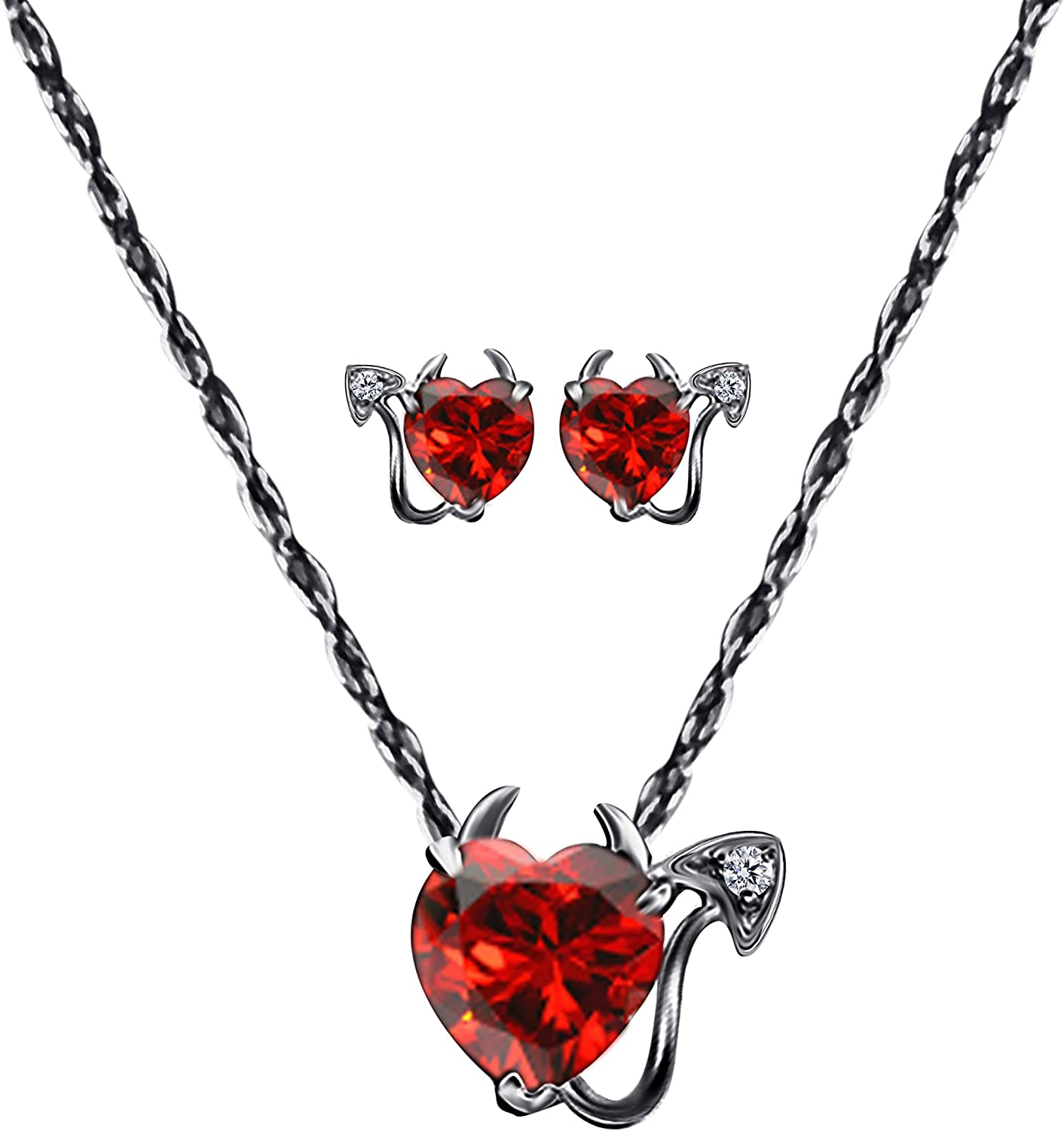 Halloween 2 ct Heart-Cut Red Devil Stud Earring With 14K white//Yellow Gold OVer