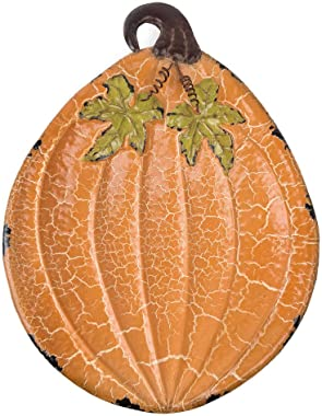 Large Oval Footed Crackle Pumpkin Decorative Platter Plate 18""
