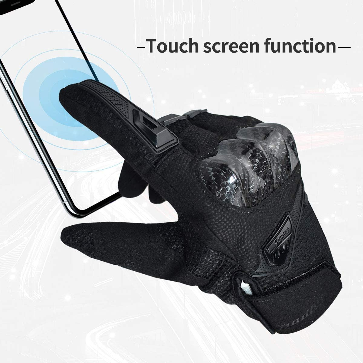 ELCYCO Touch Screen Motorcycle Riding Gloves for Men Summer Motorbike Powersports Racing Gloves Black, XL