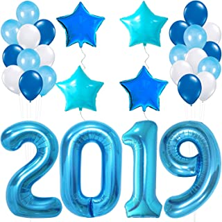 Blue 2020 Balloons for New-Year, Large 40 Inch | Blue and White Balloon Kit | New Years Eve Party Supplies 2020 | Graduations Party Supplies 2020, New Years Party Decorations, Graduations Decorations