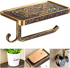 Fredysu Bronze Toilet Paper Holder,Pivoting Anti-Rust Antique Brass Carved Wall Mounted Toilet Paper Holde with Multi-Purp...