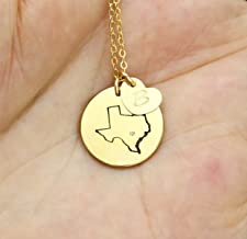 State Necklace, Personalized Small State Shaped with Initial Heart on Disc Charm Necklace, Texas California State Outline Jewelry