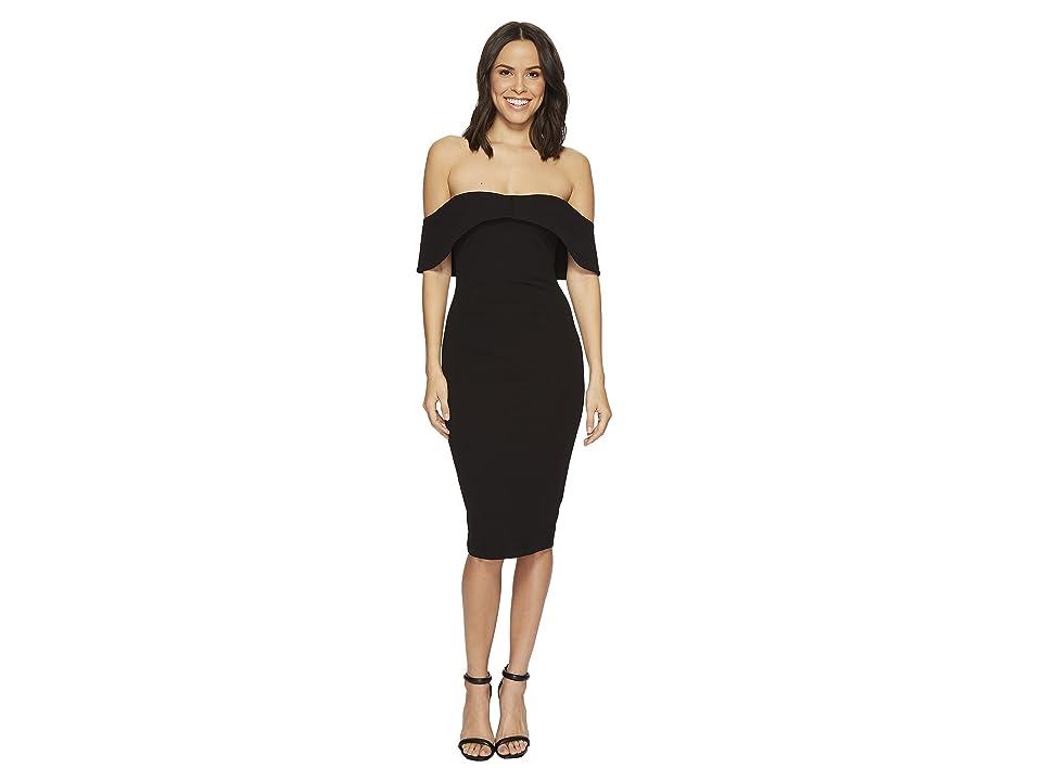 Hale Bob Strut Your Stuff Stretch Crepe Off Shoulder Dress (Black) Women