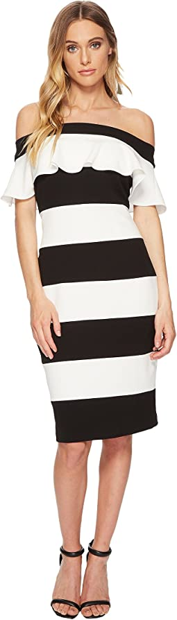 Adrianna Papell - Knit Crepe Color Block Ruffle Sheath