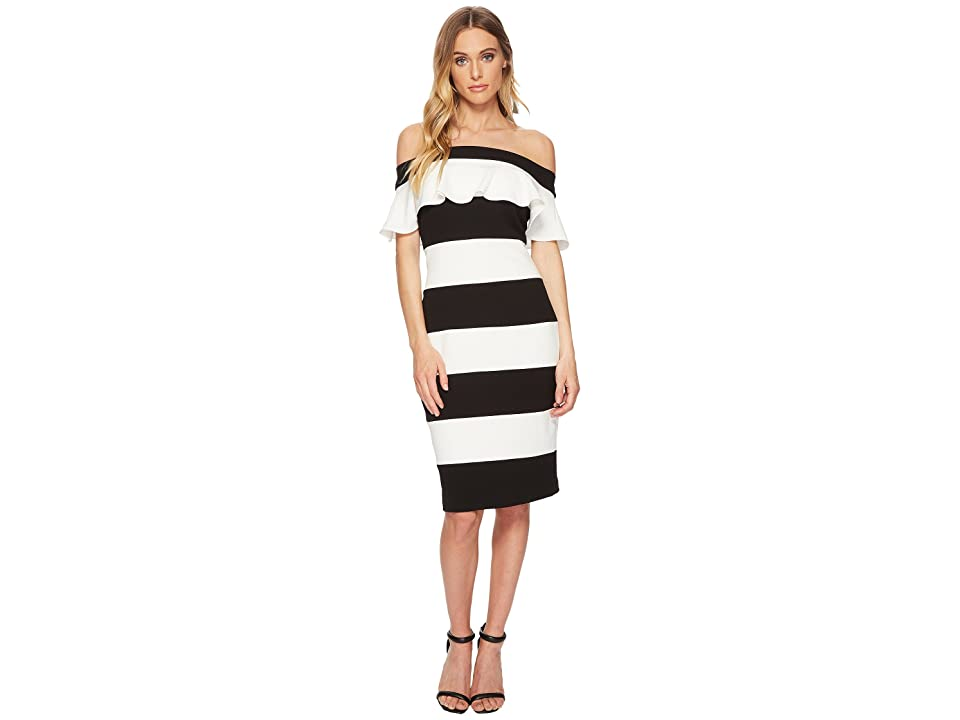 Adrianna Papell Knit Crepe Color Block Ruffle Sheath (Black/Ivory) Women