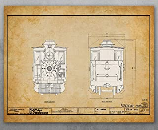 Poster - Disneyland Tokyo Railroad Locomotive Blueprint Patent - Choose Unframed Poster or Canvas - Makes a Great Gift for Rail fans