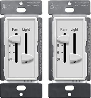 ENERLITES 3 Speed Ceiling Fan Control and LED Dimmer Light Switch, 2.5A Single Pole Light Fan Switch, 300W Incandescent Load, NO NEUTRAL WIRE REQUIRED, 17001-F3-W, White (2 Pack)