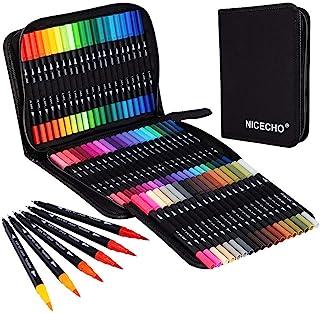 Nicecho Art Markers Dual Brush Pens، 60 Artist Coloring Marker، Fine