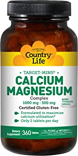 Country Life Target-Mins Calcium Magnesium Complex 1,000mg/500mg Promotes Calcium Absorption - Bone Health Support Supplement - Non-GMO, Gluten-Free, Vegetarian, Kosher - 360 Tablets