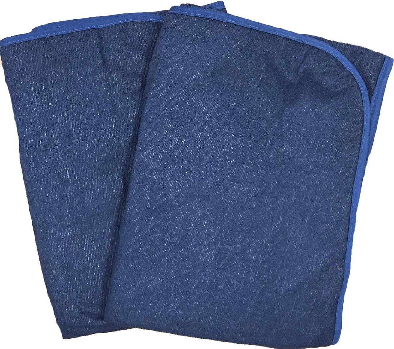 咳めまいジレンマ【2枚セット】乾きの早い薄タイプ 防水シーツ おねしょシーツ(シングル100×205cm) (ネイビー)