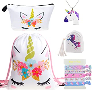 DRESHOW Unicorn Gifts for Girls Unicorn Drawstring Backpack/Make Up Bag Gift Sets for Party Christmas