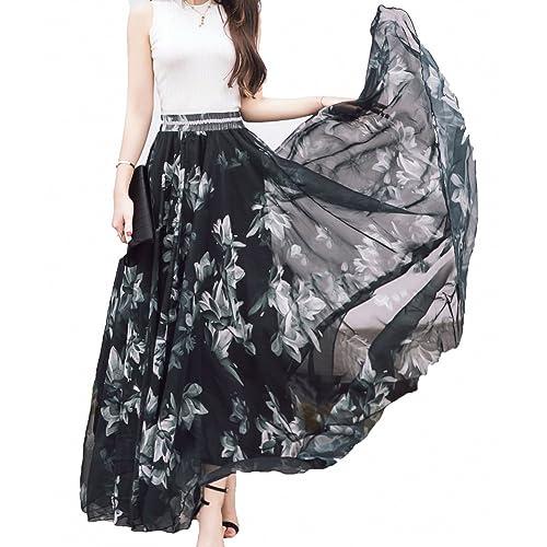 Afibi Women Full Ankle Length Blending Maxi Chiffon Long Skirt Beach Skirt f9e1ff600