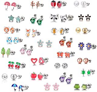 30 Pairs Stainless Steel Mixed Color Cute Animals Fox Heart Star Ladybug Bee Frog Mushroom Tree Daisy Umbrella Rose Gold W...