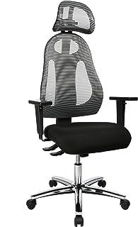 Topstar Free Art Chrom, ergonomisk kontorsstol, skrivbordsstol, inklusive höjdjusterbara armstöd och huvudstöd, tyg, ljusg...