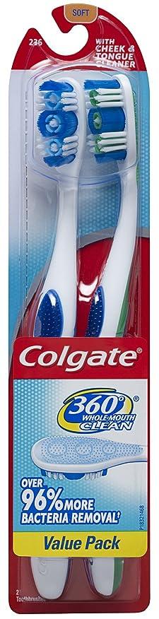 してはいけない聴衆額Colgate 360度アダルト完全な頭部、ソフト、ツインパック歯ブラシ、(2の2パック)