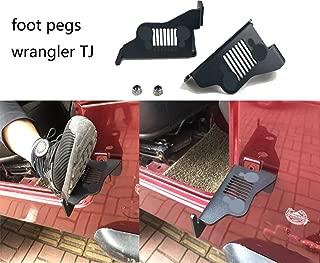 Sukemichi Black Steel Front Foot Pegs For 1996-2007 Jeep TJ Wrangler Exterior Door Hinge Foot Peg Rest Pedal- Pair