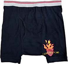 Mens Black Light My Fire Flaming Heart Valentines Day Boxer Briefs