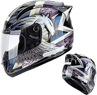 MTTKTTBD Full Face Motorcycle Helmet,DOT Approved Lightweight Anti-Fog Visor Motorbike Helmets with Reflective Sticker for Mofa Crash Moped Chopper Cruiser Racing Cap