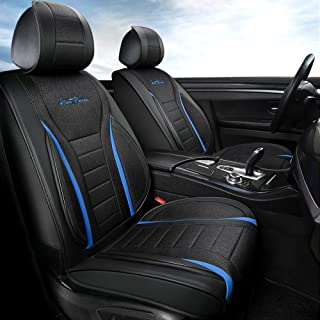 Giant Panda Luxury 1 Pair Front Car Seat Covers with PU Leather and Linen Material, Universal Fit Most of Cars SUV Pickup Mini Van (Black + Blue)