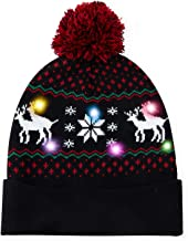 uideazone Light Up Holiday Cap Xmas Reindeer Pattern X-Mas Hat Christmas Kintwear with LED Lights