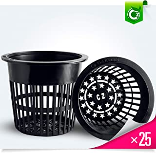 25 pack - 4 inch Round HEAVY DUTY Net Cups Pots WIDE LIP Design - Orchids • Aquaponics • Aquaculture • Hydroponics Slotted Mesh by Cz Garden Supply (4 inch Cz All Star Net Pots - Black)