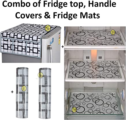 Yellow Weaves™Combo of Exclusive Decorative 1 Fridge Top Cover, 2 Handle Covers + 3 Fridge Mats (Grey & Black, 6 Piece Set)