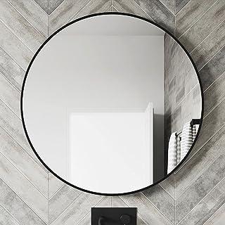 SCANDO Round Wall Mounted Bathroom Mirror Makeup Dressing Mirror Frame Mirror for Bathroom Living Room Bedroom (Φ50cm, Black)