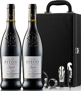 法国菲图法定产区AOC 橡木桶发酵12个月 浮雕瓶身 高贵优雅! 菲特瓦干红葡萄酒双支礼盒装 750ml*2 (法国进口红酒)