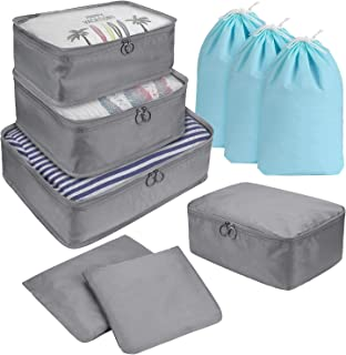 DIMJ 9 Set Packing Cubes, Travel Cubes Luggage Packing Organizers Accessories with Large Flat Bags & Laundry Shoe Bags For...