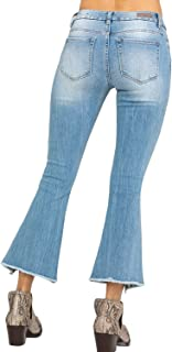 Miss Me Women`s Five-Pocket Crop Flare Jeans in Light Blue