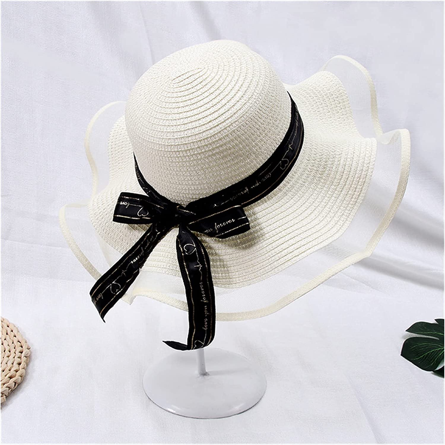 CHENGCHAO Sun hat Fashion Lace Bow Discount mail order Women Hat Straw Big Summer Wi In stock
