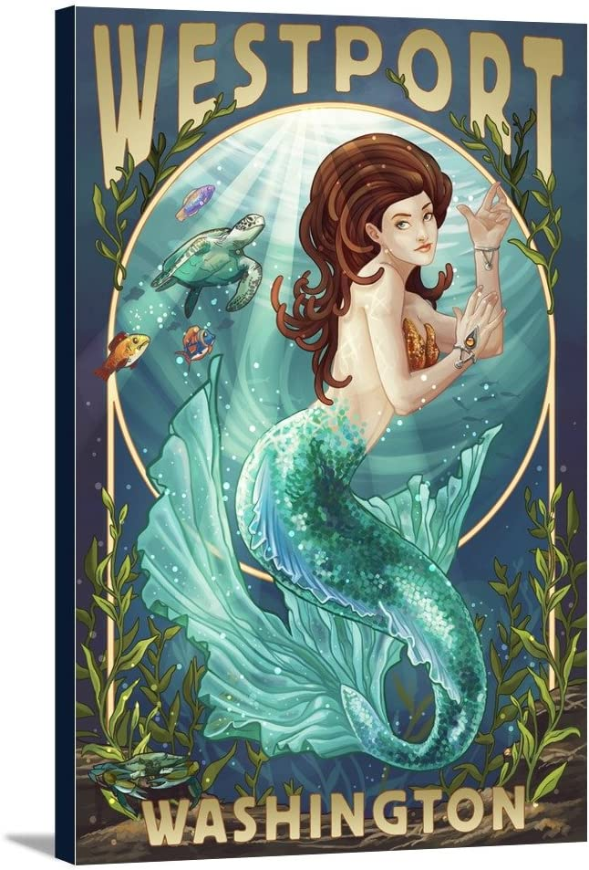 Industry No. 1 Westport Washington Mermaid 12x18 Luxury goods Wrapped Gallery C Stretched