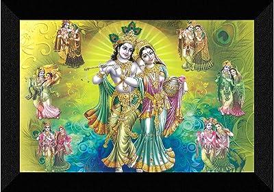 SAF Radhe Krishna UV Textured Synthetic Frame Painting SAFK160