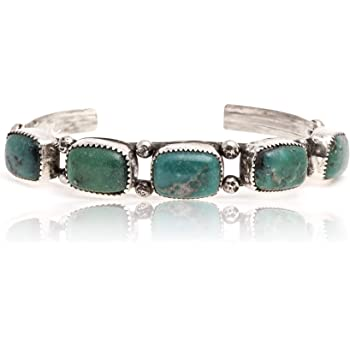 $600Tag Certified Nugget Silver Navajo Natural Turquoise Native Cuff Bracelet 13169 Made by Loma Siiva